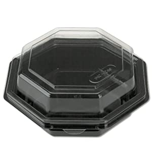 Octagon Hinged Plastic Carryout Container with Black Base in Clear (150 count)