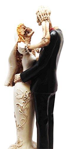 HALLOWEEN ROMANCE LOVE NEVER DIES SKELETON WEDDING COUPLE STATUE FIGURINE