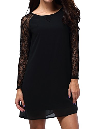 Bepei® Women Lace In Point Black Lace Shift Dress L