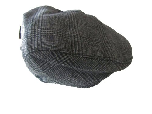 Mens Tweed Herringbone Flat Winter Cap
