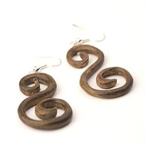 "81stgeneration Women's Wood .925 Sterling Silver Round ""S"" Spiral Tribal Brown Dangle Earrings"