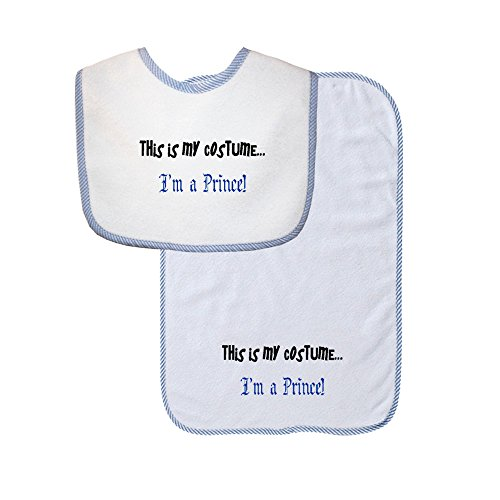 This Is My Costume... I'm A Prince Soft Terry Cotton Baby Bib & Burp Cloth Set