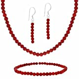 """Sterling Silver 4mm Created Red Coral Beaded Dangle Earrings, Stretch Bracelet & Necklace 15-19"""" Set"""