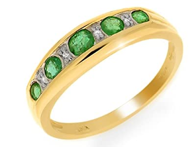 Ivy Gems 9ct Yellow Gold Emerald and Diamond Flush Set Half Eternity Ring Size N