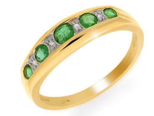 9ct Yellow Gold Emerald and 0.020ct Diamond Ring - Size N