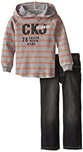 Calvin Klein Little Boys' Stripes Hoody with Jeans, Gray, 5
