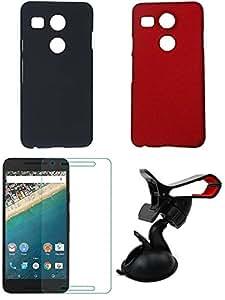 NIROSHA Tempered Glass Screen Guard Cover Case Mobile Holder for LG Nexus 5x - Combo