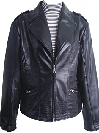 Paccilo FREE tailoring Women 4013 Plus Size Lambskin Leather Jacket
