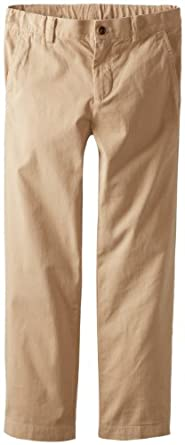 Brooks Brothers Big Boys' Flat Front Washed Chino Pant, Beige/Khaki, 14