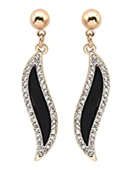 BIG Tree Diamond Surrounded Black Enamel Earrings For Women.