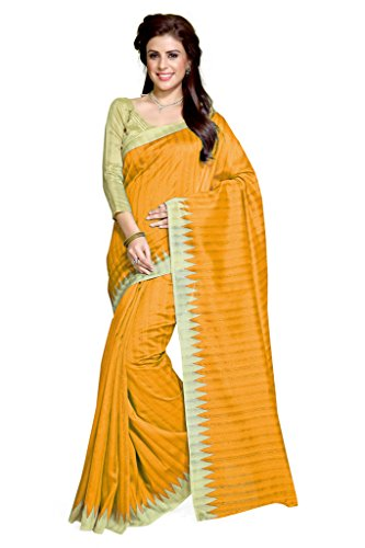 Sourbh Sarees Women's Mustard Art Silk Casual Wear Geometric Print Saree with Unstitched Blouse Piece