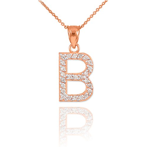 Fine 14K Rose Gold Diamond Initial Letter B Pink Pendant Necklace, 20""