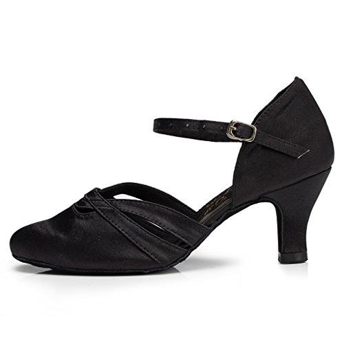 Minitoo Absatz Damen, Satin-Latein Tanzschuhe, Schwarz - schwarz - Größe: 40