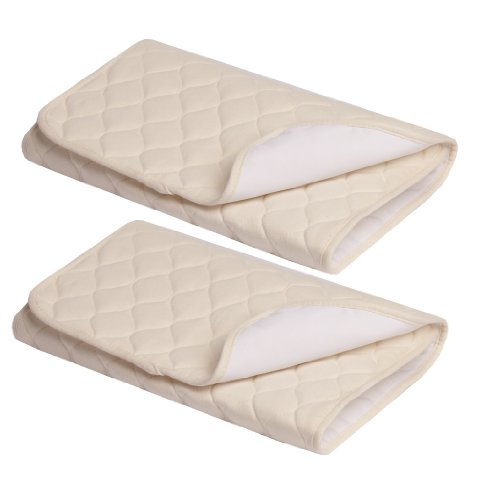 American Baby Company Organic Waterproof Quilted Flat Multi-Use Pad, Natural, 2 Count
