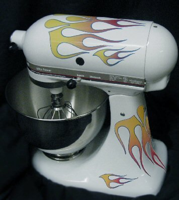 Classic21 Double Decal Flame Kit red, orange, and yellow with blue trim, designed to fit all KitchenAid stand mixers, including Artisan, Ultra Power, 4, 5, 6 qt quart mixers, without accessory interference. SALE