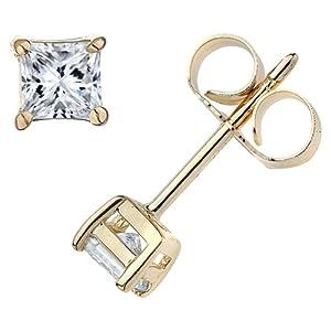 PARIKHS Princess Cut Diamond Stud Prime Quality in 14k Yellow Gold (0.12 ctw, H-I color, SI2)