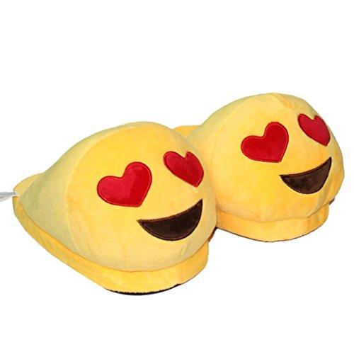Sannysis® emoji Moda peluche Pantofole Espressione Creativa mezzo pacchetto con pantofole in lana (A)