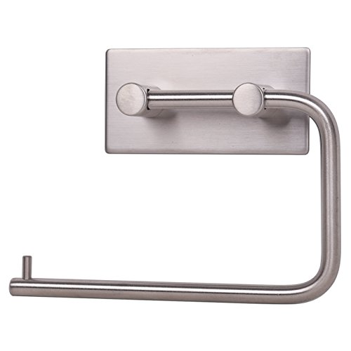 KONE Self-adhesive Toilet Paper Holder Storage Bathroom Kitchen Paper Towel Dispenser Tissue Roll Hanger Wall Mount, Stainless Steel Brushed (Rv Toilet Paper Holder compare prices)
