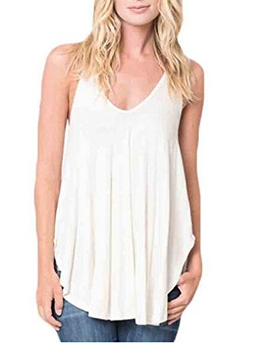 OURS Women Sleeveless Loose Racerback Vest Tank Top (S, White)