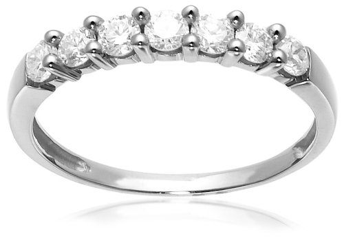 10k White Gold 7-Stone Shared-Prong Diamond Ring (1/2 cttw, J-K Color, I2-I3 Clarity), Size 7