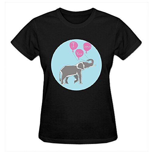 Firebo Elephant Love Original Fit Round Neck T Shirts For Women Black