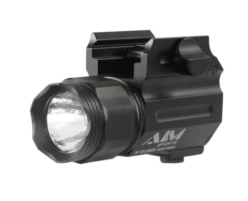 Aim Sports Flashlight 150-Lumen Compact Flashlight With Quick Release Mount Color Filtered Lens, Black
