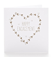 Heart Wreath Happy Engagement Card