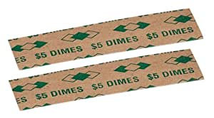 PM Company $5/SecurIT Kraft Flat Dime Coin Wrappers, 3.37 Inches Length, Brown/Green, 20,000/Carton (53010)