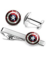 Captain America Cufflinks, The Avengers Jewelry, Shield Tie Clip, Superhero Wedding Party and Groomsmen Gift Gifts, Geek Geeky Present Presents
