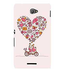 printtech Love Couple Cycle Cute Back Case Cover for Sony Xperia E4 Dual::Sony Xperia E4