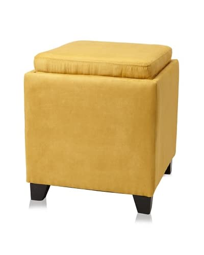 Armen Living Microfiber Storage Ottoman, Yellow