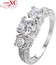 GDSHOP Elegant White Sapphire Vintage Jewelry Women Finger Wedding Rings Aneis 14KT White Gold Fille