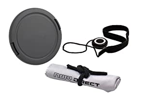 Lens Cap Side Pinch (37mm) + Lens Cap Holder + Lens/Filter Ring Adapter + Nwv Direct Microfiber Cleaning Cloth For Panasonic Lumix DMC-LX7