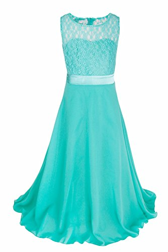 IEFiEL Big Girls Lace Chiffon Bridesmaid Dress Dance Ball Party Maxi Gown Turquoise 12