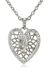 "1928 Jewelry ""Heart of Hearts"" Silver-Tone Crystal Swarovski Heart Pendant Necklace, 18 """