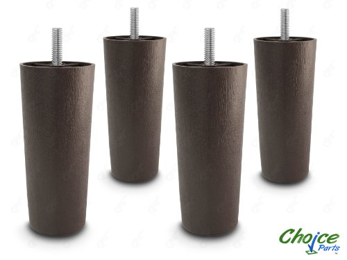 Choice Parts - 5 Inch Dark Walnut Plastic Sofa Legs (Pack of 4 Replacement Feet) Standard 5/16