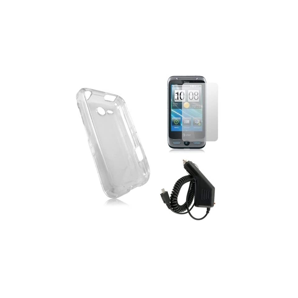 HTC FREESTYLE F5151   CLEAR CRYSTAL HARD CASE COVER + CAR CHARGER + SCREEN PROTECTOR