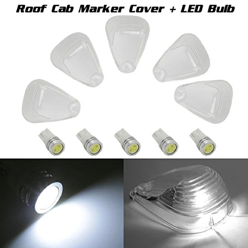 Partsam 5 Clear Cab Marker Roof Running Light Lens Cover+T10 White Led High Power Bulb For Ford F-250 F-350 F-450 F-550