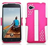HTC First / M4 [AT&T] Hybrid Double Layer Armor Case w/ Built-in Kickstand ((White / Pink))