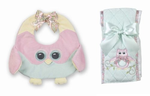 Bearington Bears Lil Hoots Owl Baby Bib and Burp Cloth Set