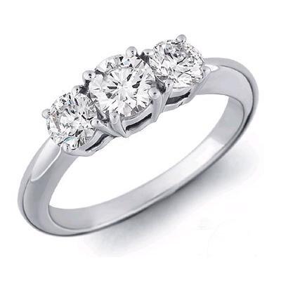 14K White Gold 3 Three Stone Round Diamond Ring (1/2 cttw) - Size 6