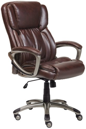 Serta 43520 Bonded Leather Executive Chair, Brown front-484328