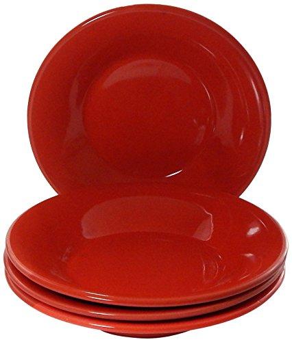 Le Souk Ceramique Pasta/Salad Bowls, Solid Red Design, Set of 4