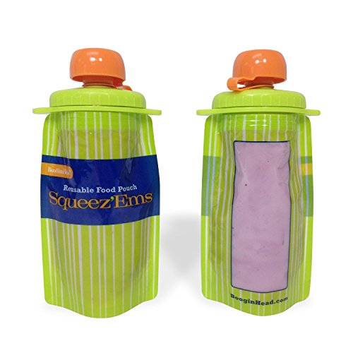 Squeez'Ems 6oz Reusable Food Pouches ~ New & Improved Screw-Top Design! (6 Pouches)