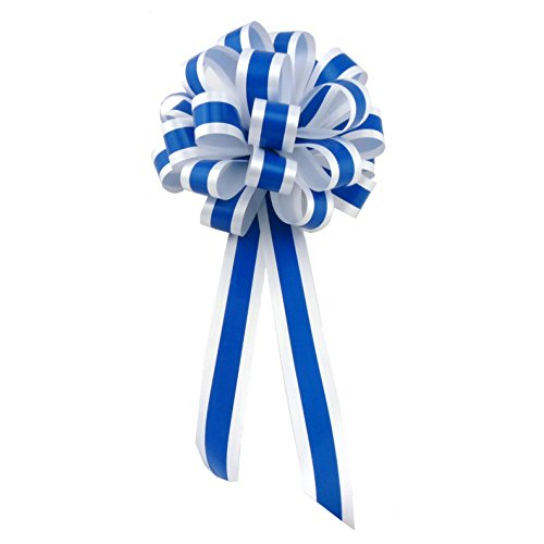White & Royal Blue Striped Wedding Pull Bows with Tails for Church Pews and Chairs - 8