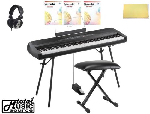 Korg Sp280Bk 88-Key Home Digital Piano With Stand & Pedal, Black, Tms Polishing Cloth, Bench, Suzuki Piano School 1,2,3 Sp280