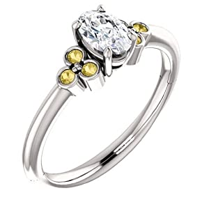 14K White Gold Oval Cut White and Yellow Diamond Engagement Ring
