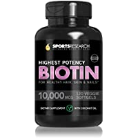 Biotin 10,000mcg Enhanced with Coconut Oil for Better Absorption