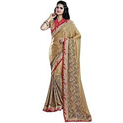 Vasu Saree Tiptop Golden Satin Chiffon Designer Saree