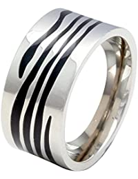 Sparkling Drop Exclusive Designer Rhodium Finish Stainless Steel Zebra Textured Band Ring SDC095R043